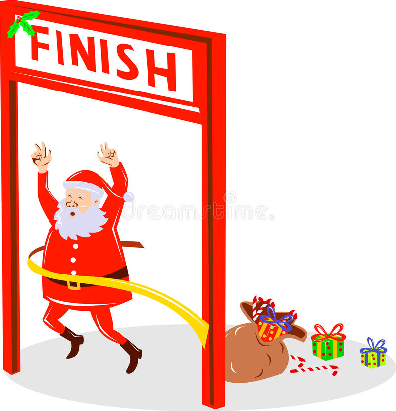 Santa Claus running finish line. Vector illustration of Santa Claus running a marathon and crossing the finish line isolated on white stock illustration