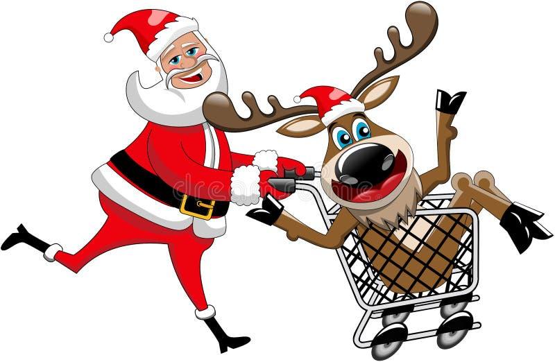 Santa Claus Running Pushing Reindeer Cart aisló stock de ilustración