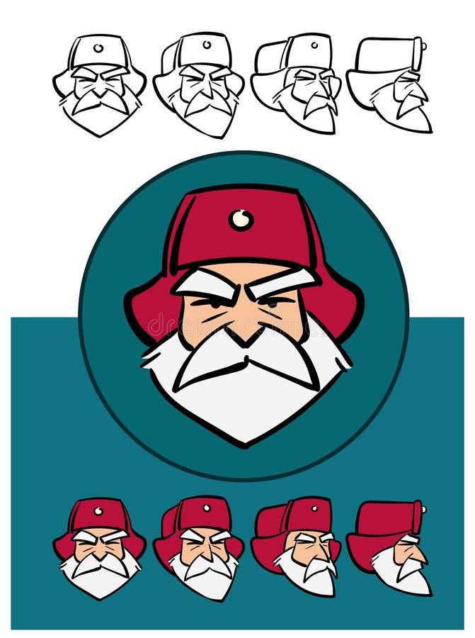 Santa Claus russa arrabbiata Stile del fumetto Costruttore del carattere con le varie viste Corredo di animazione royalty illustrazione gratis