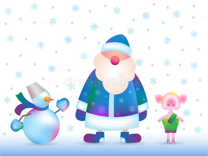 Santa Claus russa, pupazzo di neve, porcellino royalty illustrazione gratis