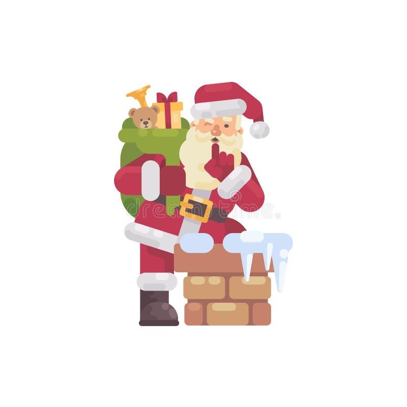 Santa Claus s'élevant dans la cheminée avec un sac des présents illustration de vecteur