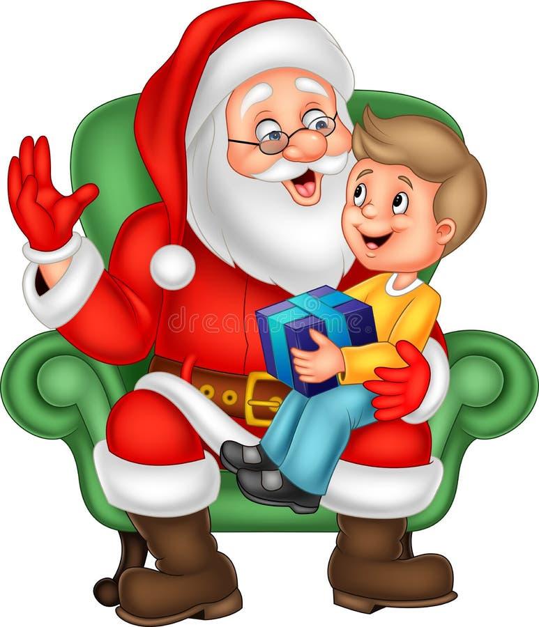 Santa Claus s'asseyant avec un petit garçon mignon illustration stock
