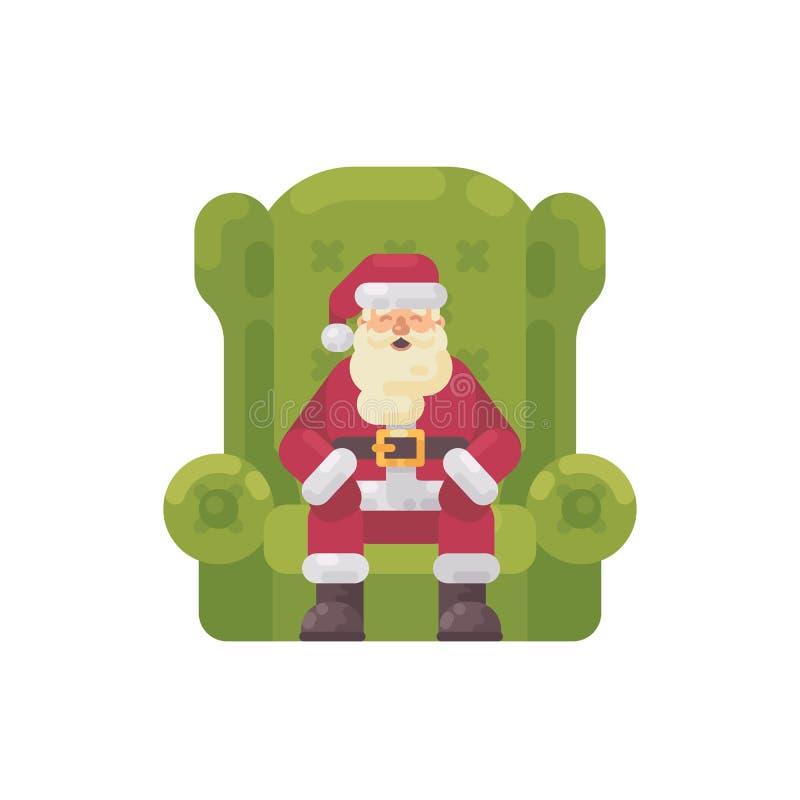 Santa Claus s'asseyant dans un grand fauteuil vert caractère de Noël illustration stock