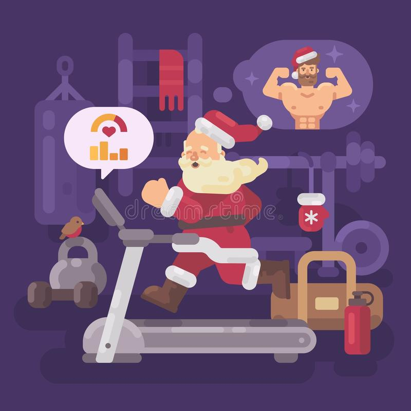 Santa Claus s'exerçant et entrant dans la forme pour Noël illustration libre de droits