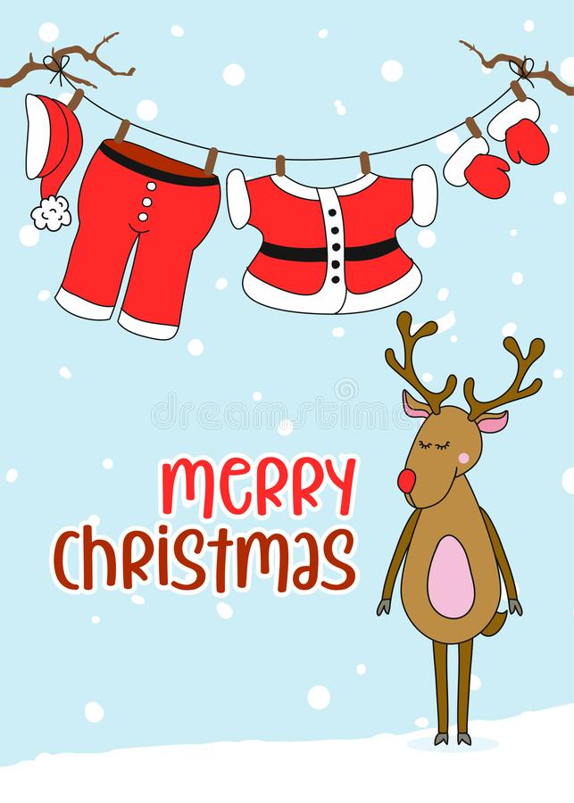 Santa Claus`s hanging clothes with Merry Christmas text. vector illustration