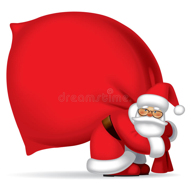 Santa Claus with sack. Isolated raster version of vector image of the Santa Claus carrying a big red sack full of gifts. There is in addition a vector format (