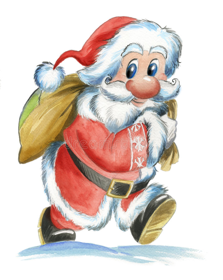 Traditional Santa Claus with sack stock illustration