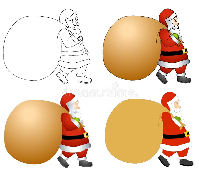 Santa Claus Sack Background. An illustration featuring your choice of Santa Claus carrying a sack in various styles from black and white and colour. Sack is royalty free illustration