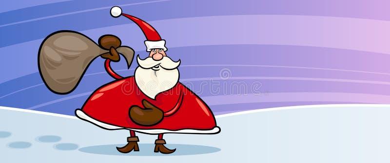 Santa Claus And Sack Cartoon Card Stock Photography