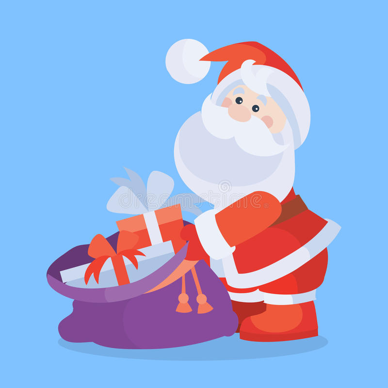 Santa Claus with Sack Full of Gifts Cartoon Icon. Santa Claus with sack full of gifts cartoon flat vector icon. Christmas presents from Santa. Celebrating Merry royalty free illustration