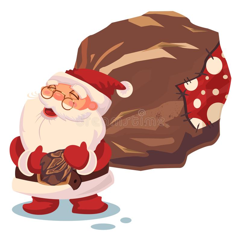 Santa Claus and sack with gift. Vector Christmas illustration on white background stock images