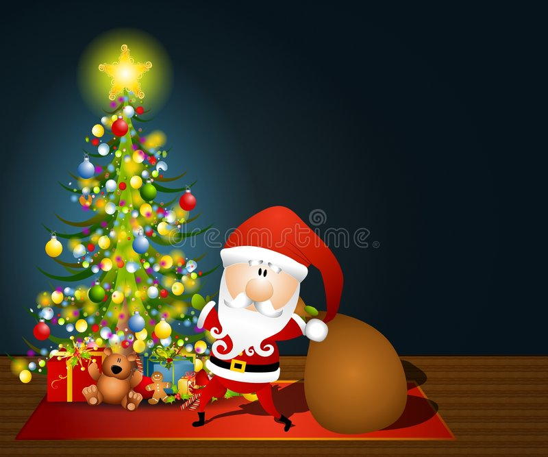 Santa Claus Sack of Toys. An illustration featuring Santa Claus on Christmas Eve delivering gifts under a lit tree in a dark room with ample space in top right vector illustration