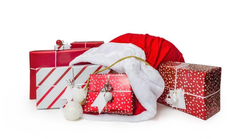 Santa Claus Sack von Weihnachtsgeschenken stockbilder