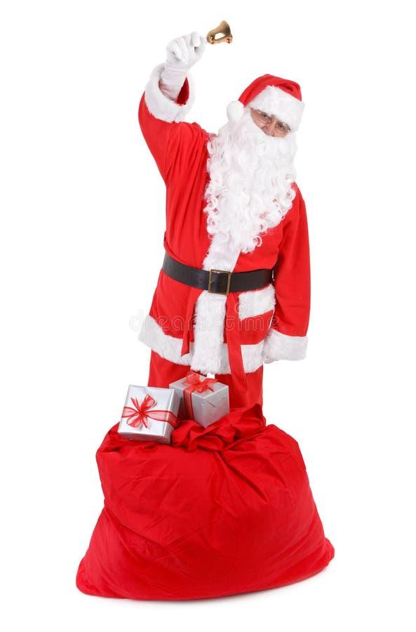Santa claus with sack on white royalty free stock photo