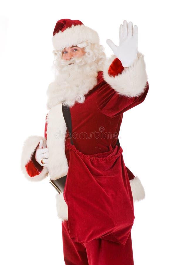 Santa claus saying hello royalty free stock photo