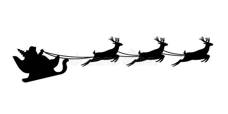 Santa Claus-Schattenbild, das einen Pferdeschlitten mit Rotwild reitet Auch im corel abgehobenen Betrag vektor abbildung