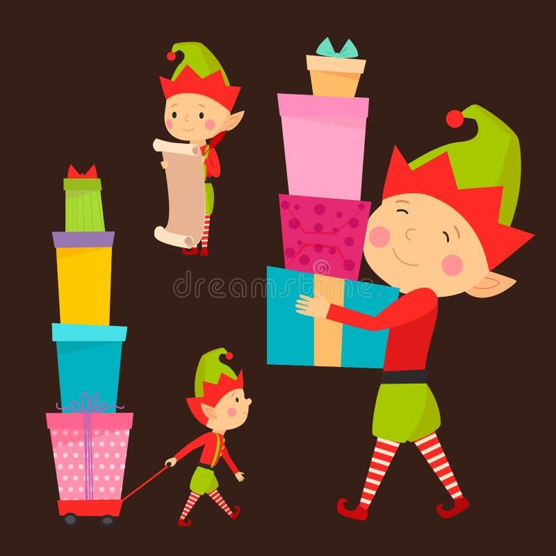 Santa Claus scherza il costume tradizionale dei caratteri dei bambini dell'illustrazione di vettore degli assistenti dell'elfo de royalty illustrazione gratis