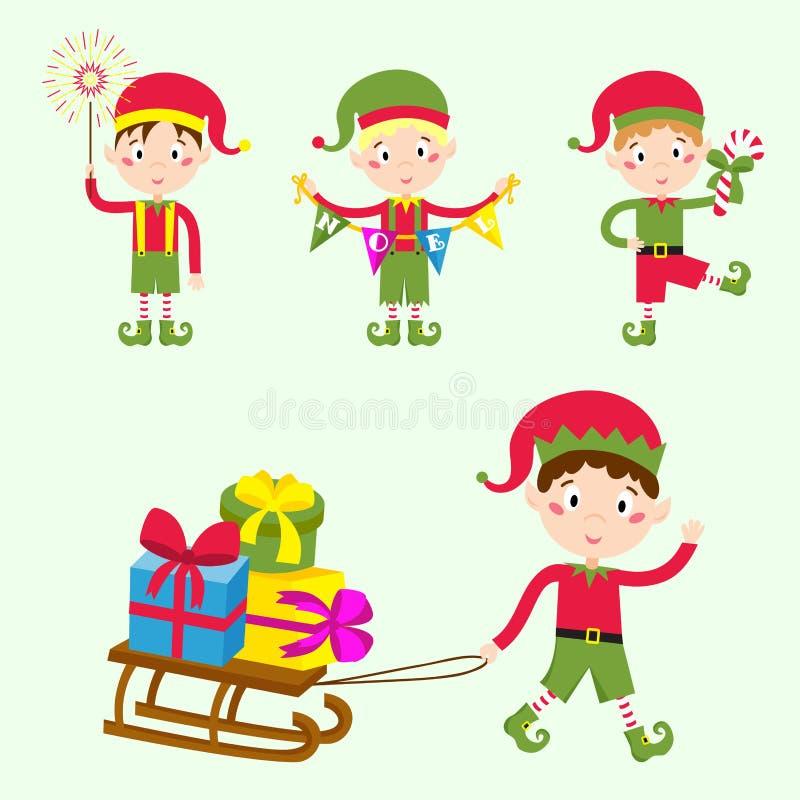 Santa Claus scherza il costume tradizionale dei caratteri degli elfi dei bambini dell'illustrazione di vettore degli assistenti d royalty illustrazione gratis