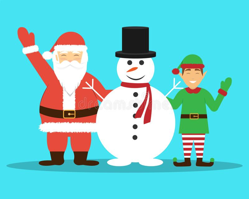 Santa Claus, Schneemann und Elfe Frohe Weihnachten und guten Rutsch ins Neue Jahr Flaches Design stock abbildung