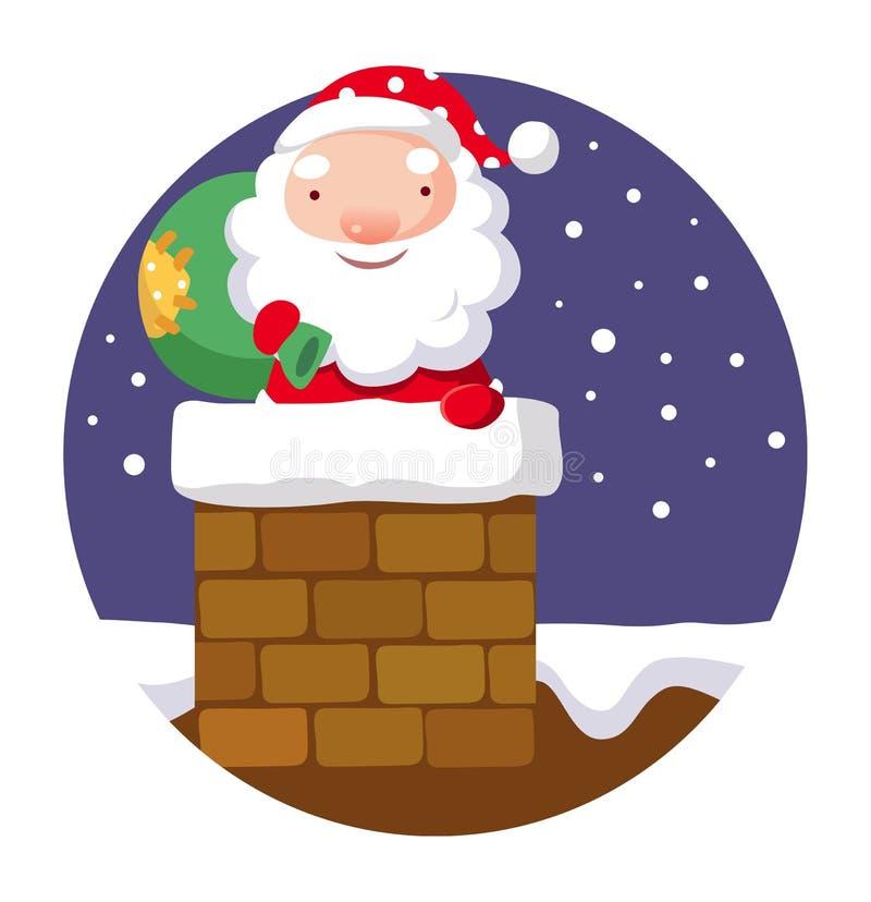 Santa Claus in schoorsteen stock illustratie