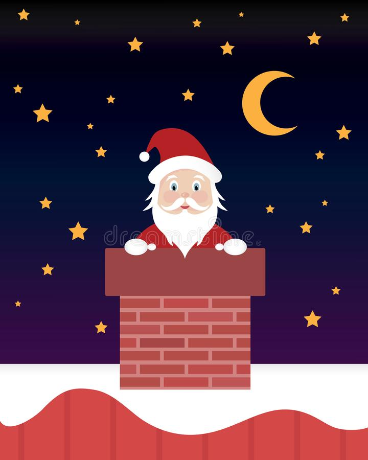 Santa Claus in Schoorsteen bij het Beeldverhaal van de Kerstmisnacht royalty-vrije illustratie
