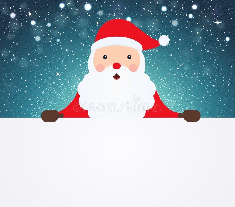 Santa Claus se dirigeant en tissu vide blanc sur le fond neigeux illustration stock