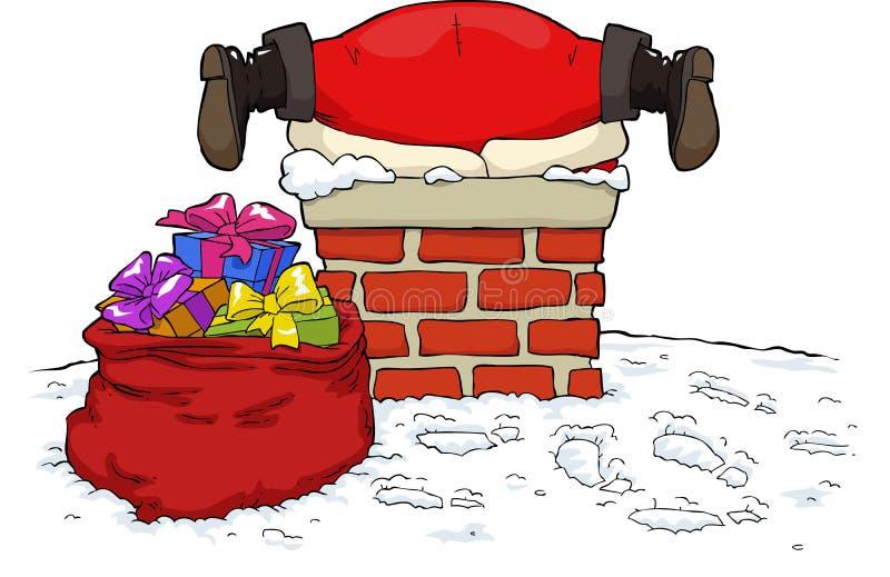 Santa Claus se pegó ilustración del vector