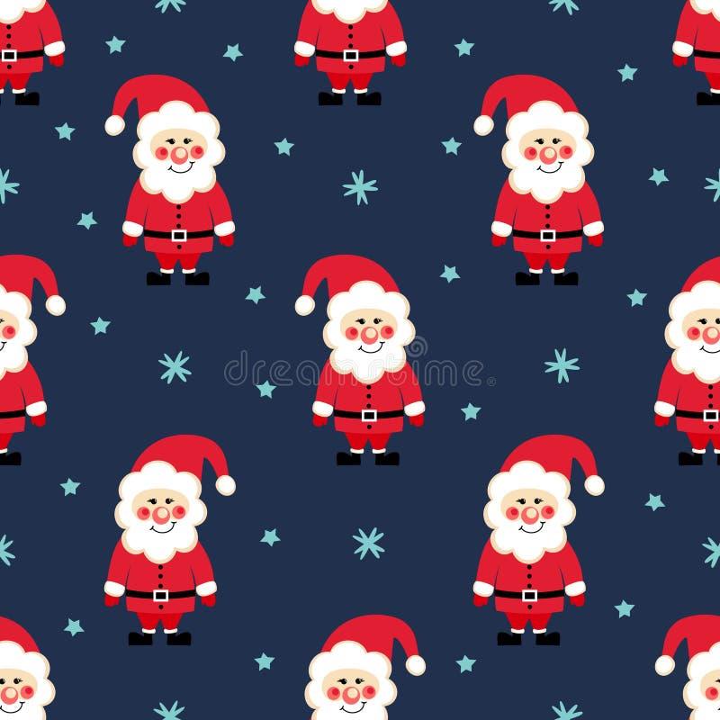 Santa claus seamless christmas pattern snow