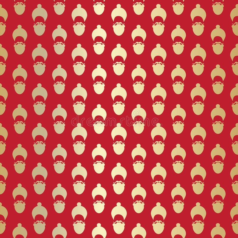 Santa Claus seamless pattern with stylized face hat and beard silhouette. Christmas gold and red background for wrapping paper and. Santa Claus seamless pattern vector illustration
