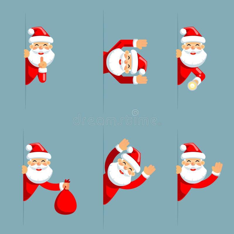 Santa claus secret flashlight peeking out corner surrender give up cartoon characters set flat design isolated vector. Santa claus secret flashlight peeking out vector illustration