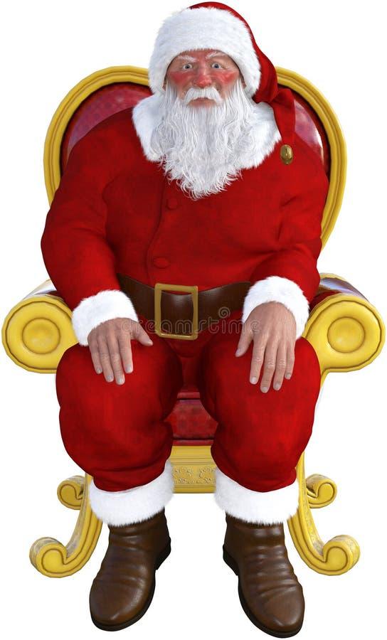 Santa Claus, seduta della sedia, isolata illustrazione di stock