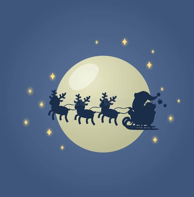 Santa Claus in seinem Weihnachtsschlittenpferdeschlitten mit seinen Renen über dem mondbeschienen nächtlichen Himmel Flache Vekto lizenzfreie abbildung