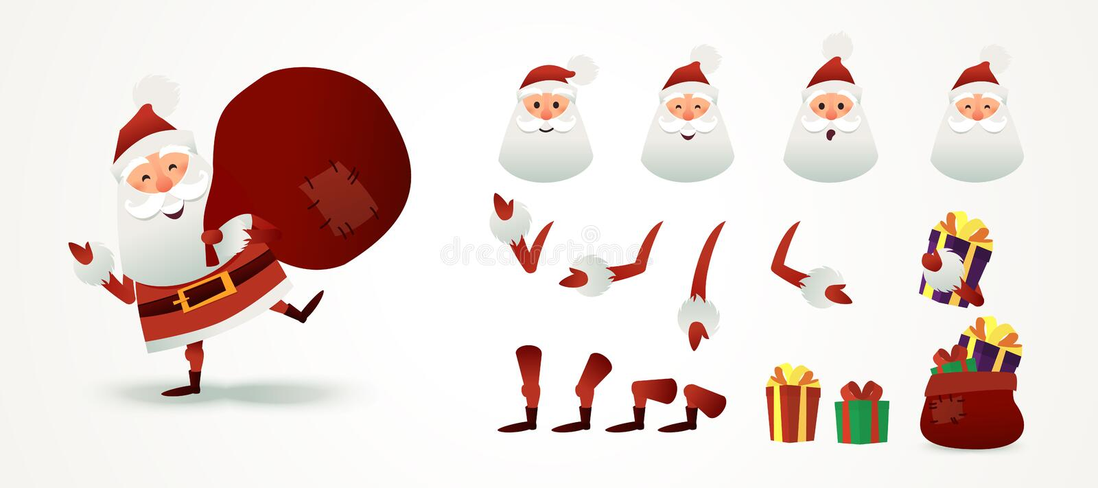 Santa Claus set for animation and motion design. Christmas father emotion, part body, present boxes, hats. Cute X-mas vector illustration