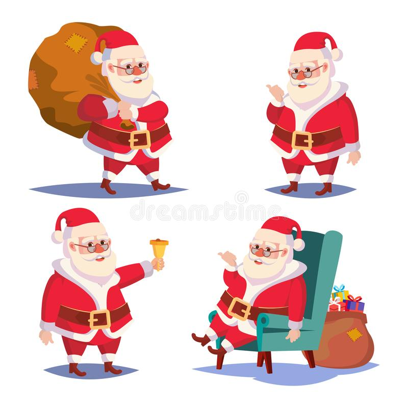 Santa Claus Set Isolated Vector. Cartoon Christmas Character. Classic Red Suit. Good For Flyer, Card, Poster, Decoration stock illustration