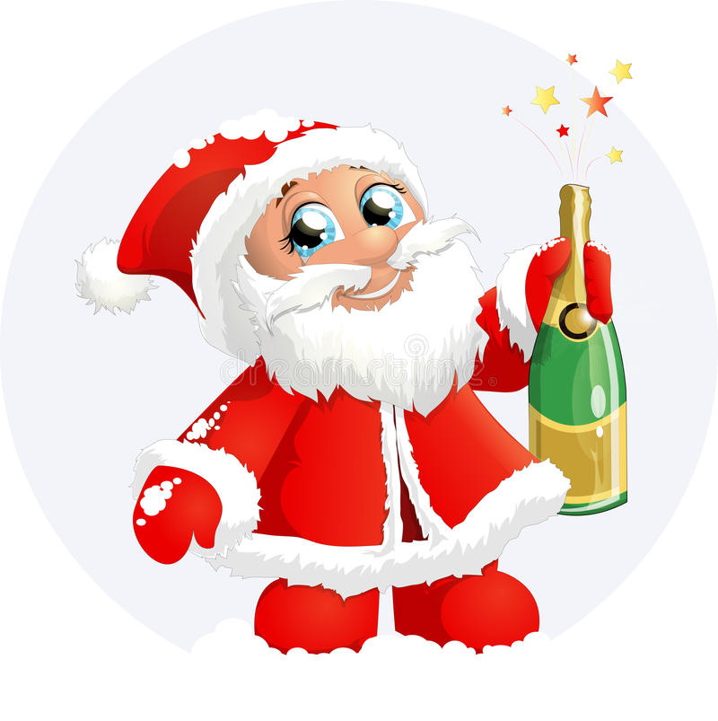 Santa claus. With shapansky bottle on a white background stock illustration