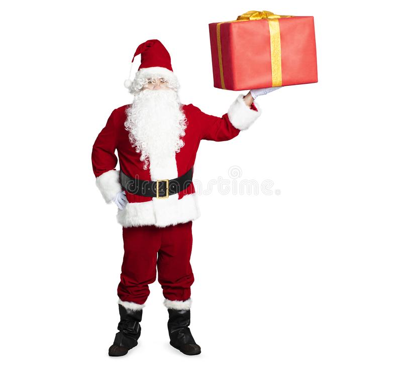 Santa Claus showing the gift box. Isolated stock photo