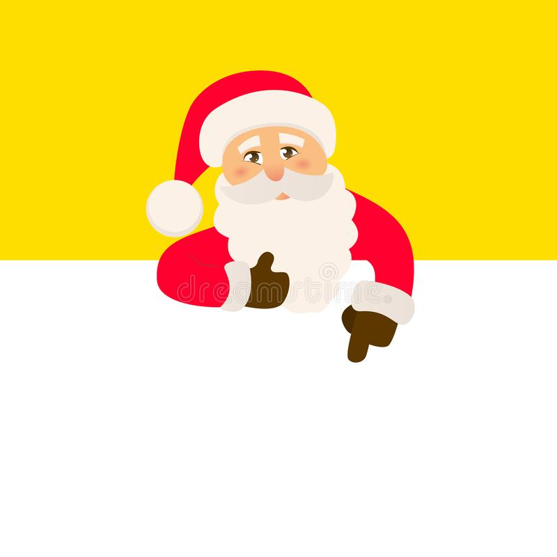 Santa Claus with signboard. Happy Santa standing behind a blank sign. vector illustration