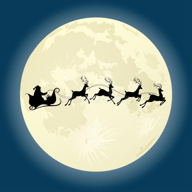 Santa Claus silhouette with deers in front of moon. Santa Claus silhouette riding a sleigh with deers in front of moon. Vector illustration vector illustration