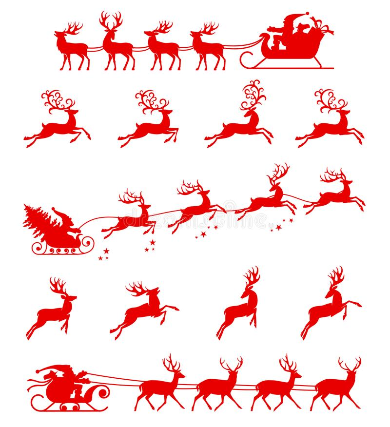 Santa Claus silhouette riding a sleigh with deers. Vector illustration isolated on white background stock illustration
