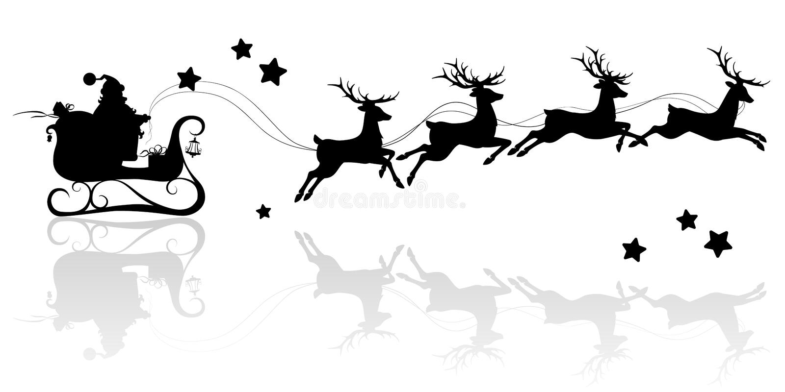 Santa Claus silhouette riding a sleigh with deers. Vector image on isolated white background royalty free illustration