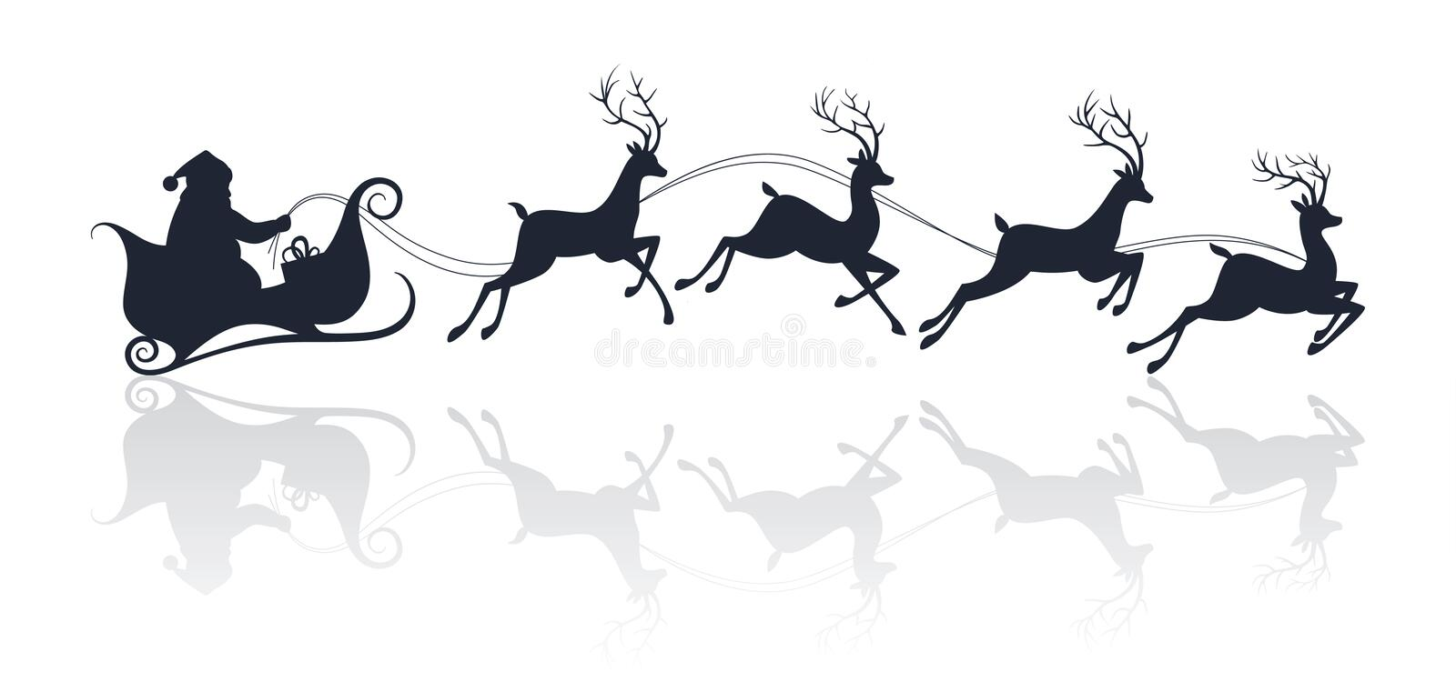 Santa Claus silhouette riding a sleigh with deers. Vector illustration stock illustration