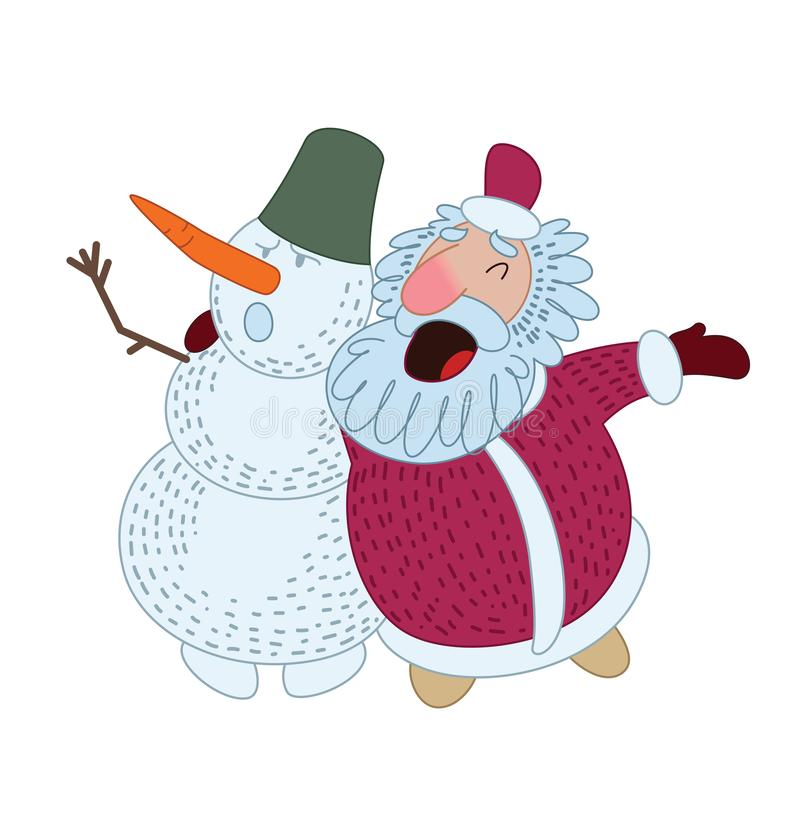 Santa Claus is singing a Christmas song with a snowman. Vector illustration stock illustration