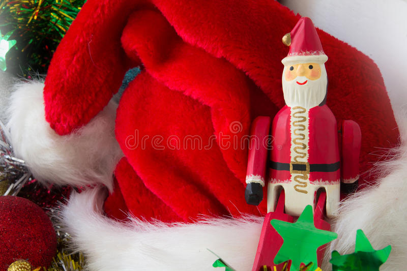 Santa Claus single focused with blur red hat royalty free stock photos