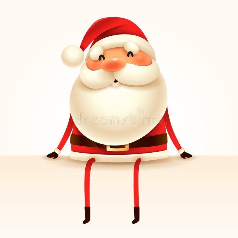 Santa Claus sits at the edge. Isolated royalty free illustration