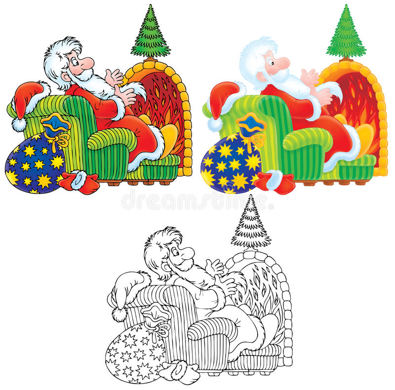 Santa Claus Sits By The Fire Royalty Free Stock Images