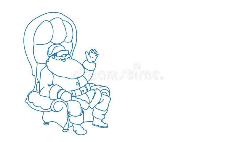 Santa Claus sittande fåtölj som bär det horisontalbegreppet för glad jul för lyckligt nytt år för ferier för VR-exponeringsglasvi royaltyfri illustrationer