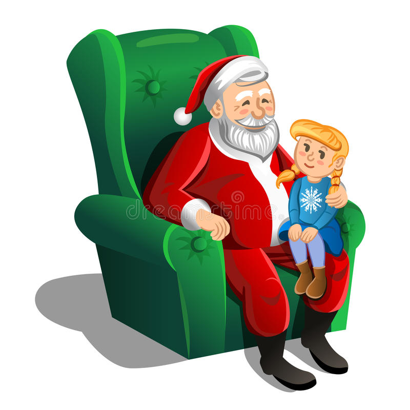 Santa Claus sitting in armchair with little girl. Vector vector illustration