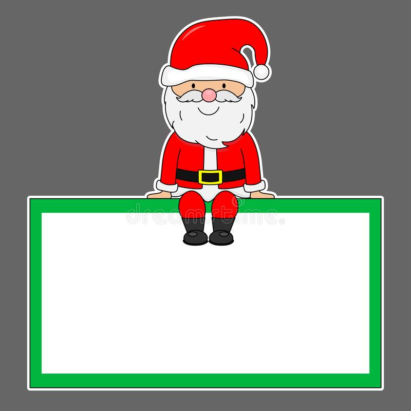 Santa Claus sitting in a blank frame vector illustration