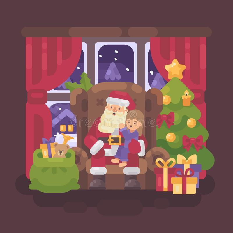 Santa Claus sitting in a chair in a cozy room with a little girl vector illustration