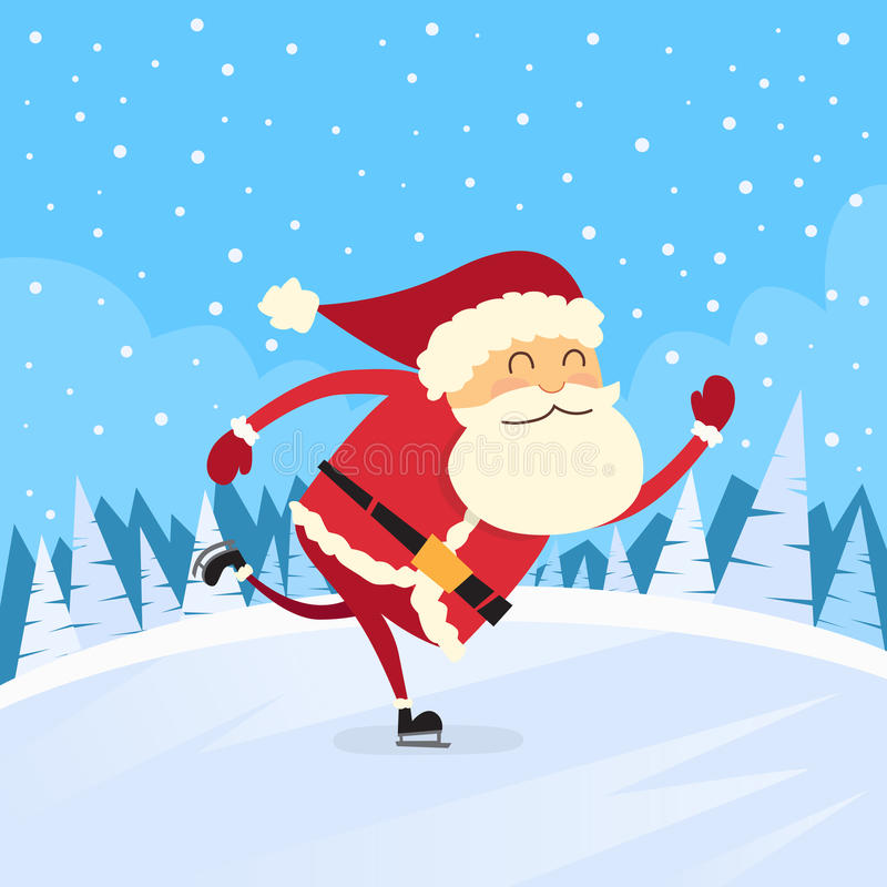 Santa Claus Skating Winter Snow Forest väg stock illustrationer